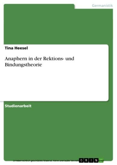 Anaphern in der Rektions- und Bindungstheorie - Blick ins Buch