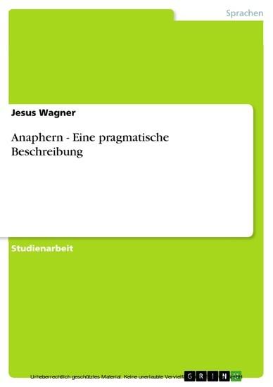 Anaphern - Eine pragmatische Beschreibung - Blick ins Buch