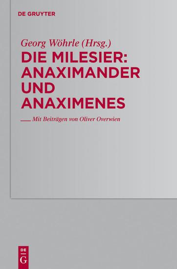 Anaximander und Anaximenes - Blick ins Buch