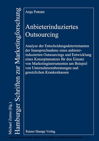 Anbieterinduziertes Outsourcing - Blick ins Buch