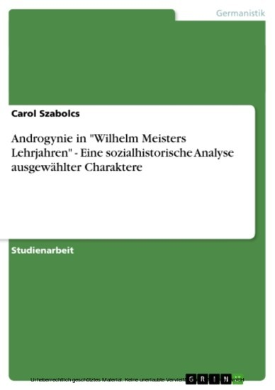 Androgynie in 'Wilhelm Meisters Lehrjahren' - Eine sozialhistorische Analyse ausgewählter Charaktere - Blick ins Buch