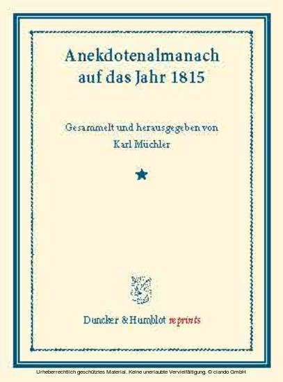 Anekdotenalmanach auf das Jahr 1815. - Blick ins Buch