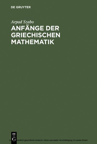 Anfänge der griechischen Mathematik - Blick ins Buch