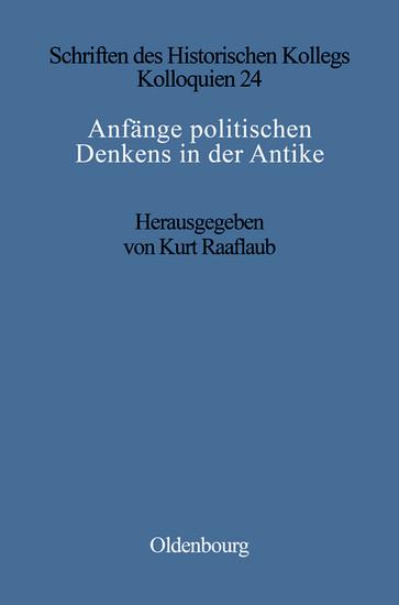 Anfänge politischen Denkens in der Antike - Blick ins Buch