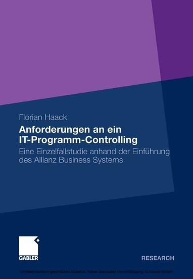 Anforderungen an ein IT-Programm-Controlling - Blick ins Buch