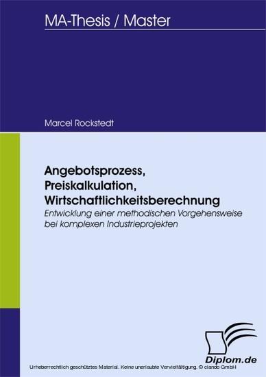 Angebotsprozess, Preiskalkulation, Wirtschaftlichkeitsberechnung - Blick ins Buch
