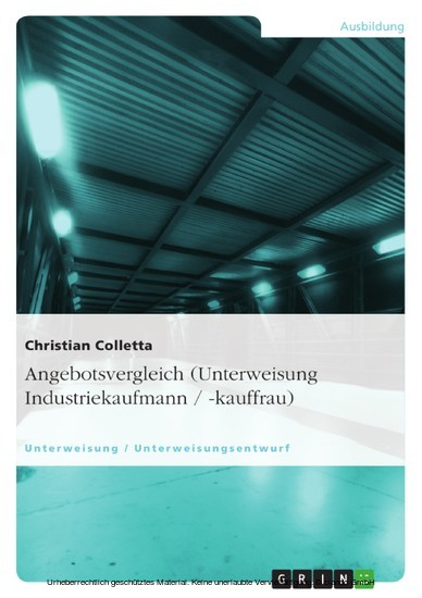 Angebotsvergleich (Unterweisung Industriekaufmann / -kauffrau) - Blick ins Buch