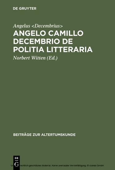Angelo Camillo Decembrio De politia litteraria - Blick ins Buch