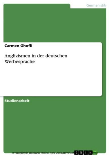 Anglizismen in der deutschen Werbesprache - Blick ins Buch
