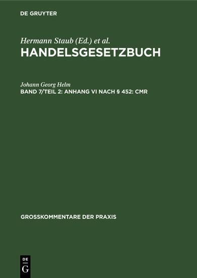 Anhang VI nach § 452: CMR - Blick ins Buch