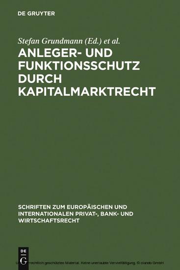 Anleger- und Funktionsschutz durch Kapitalmarktrecht - Blick ins Buch