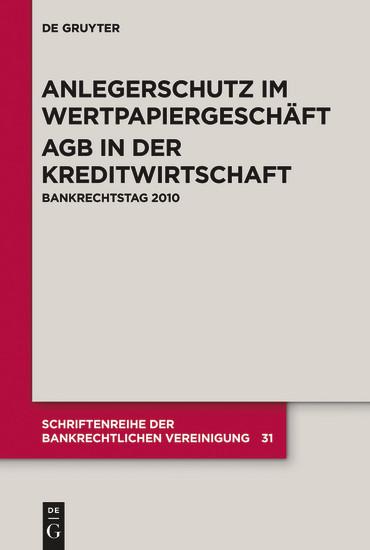 Anlegerschutz im Wertpapiergeschäft. AGB in der Kreditwirtschaft - Blick ins Buch