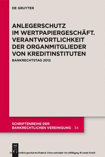 Anlegerschutz im Wertpapiergeschäft. Verantwortlichkeit der Organmitglieder von Kreditinstituten - Blick ins Buch