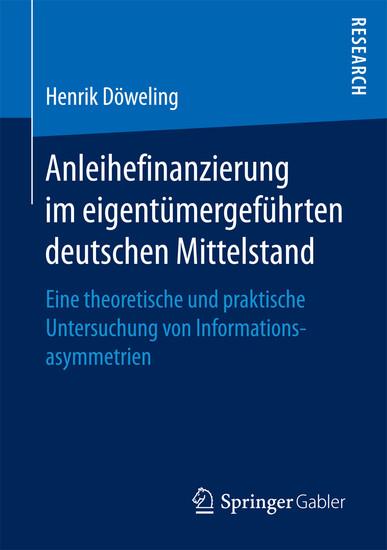 Anleihefinanzierung im eigentümergeführten deutschen Mittelstand - Blick ins Buch