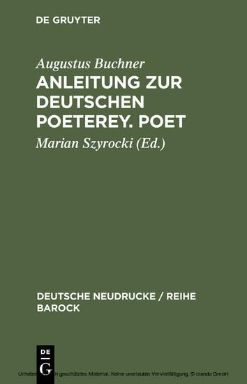 Anleitung zur deutschen Poeterey. Poet - Blick ins Buch