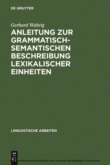 Anleitung zur grammatisch-semantischen Beschreibung lexikalischer Einheiten - Blick ins Buch