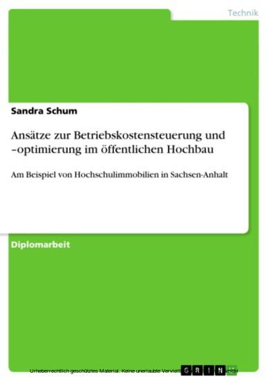 Ansätze zur Betriebskostensteuerung und -optimierung im öffentlichen Hochbau - Blick ins Buch