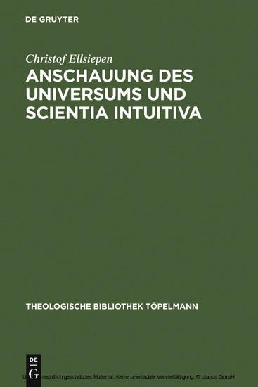 Anschauung des Universums und Scientia Intuitiva - Blick ins Buch