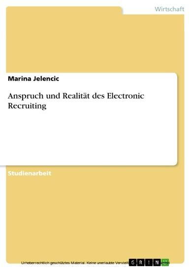 Anspruch und Realität des Electronic Recruiting - Blick ins Buch