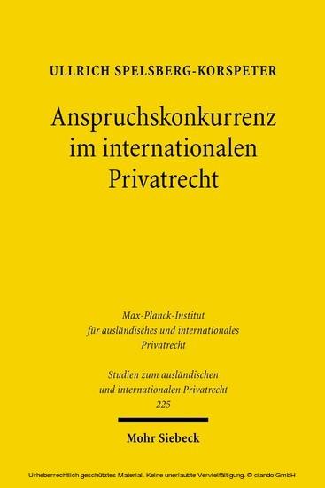 Anspruchskonkurrenz im internationalen Privatrecht - Blick ins Buch