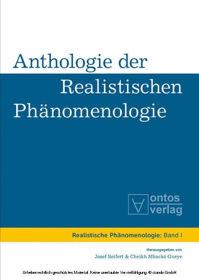 Anthologie der realistischen Phänomenologie - Blick ins Buch