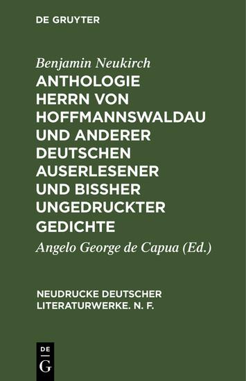 Anthologie Herrn von Hoffmannswaldau und anderer Deutschen auserlesener und bißher ungedruckter Gedichte - Blick ins Buch