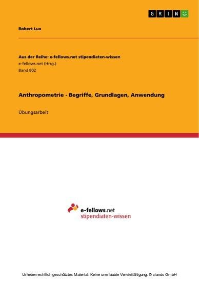 Anthropometrie - Begriffe, Grundlagen, Anwendung - Blick ins Buch