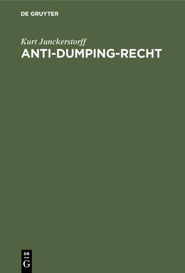 Anti-Dumping-Recht - Blick ins Buch