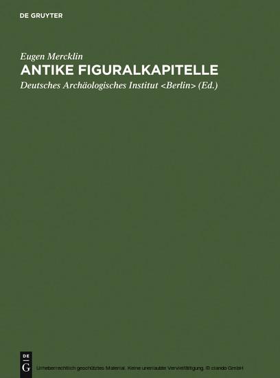 Antike Figuralkapitelle - Blick ins Buch