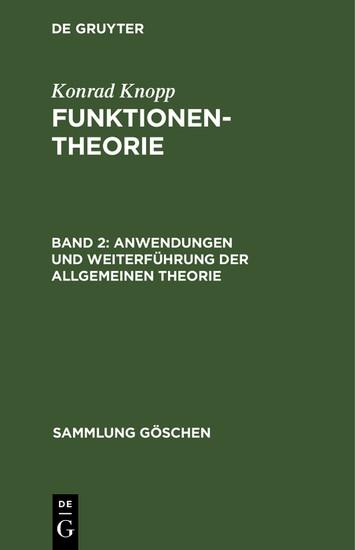 Anwendungen und Weiterführung der allgemeinen Theorie - Blick ins Buch