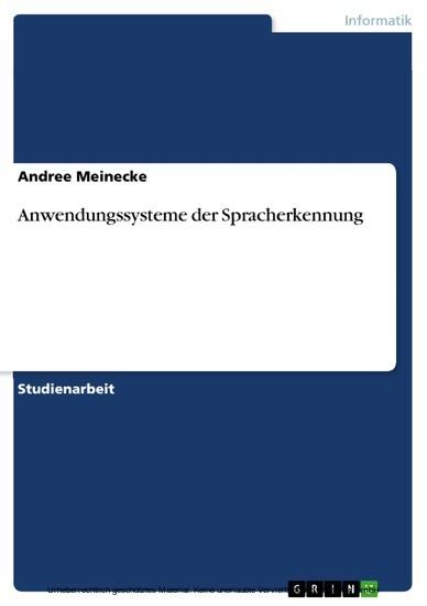 Anwendungssysteme der Spracherkennung - Blick ins Buch