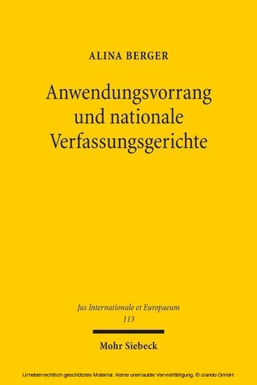 Anwendungsvorrang und nationale Verfassungsgerichte - Blick ins Buch