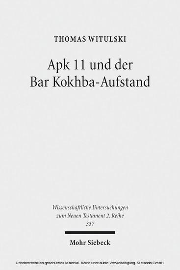 Apk 11 und der Bar Kokhba-Aufstand - Blick ins Buch
