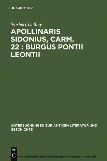 Apollinaris Sidonius, carm. 22: Burgus Pontii Leontii - Blick ins Buch