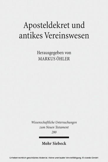 Aposteldekret und antikes Vereinswesen - Blick ins Buch