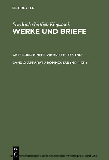 Apparat / Kommentar (Nr. 1-131) - Blick ins Buch