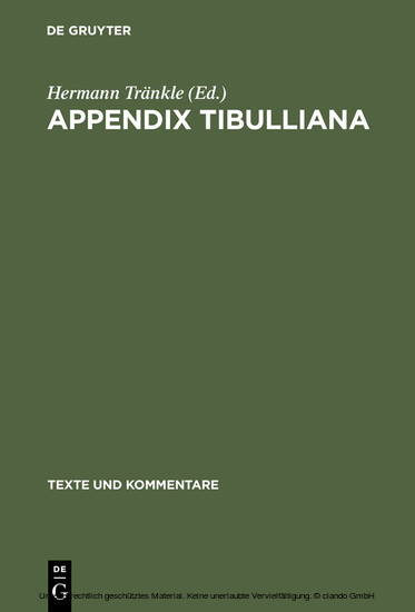 Appendix Tibulliana - Blick ins Buch