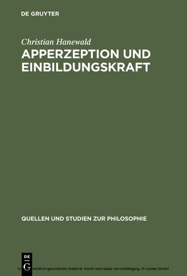 Apperzeption und Einbildungskraft - Blick ins Buch