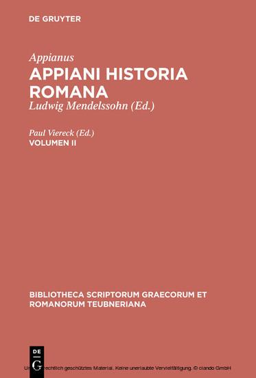 Appianus: Appiani Historia Romana. Volumen II - Blick ins Buch