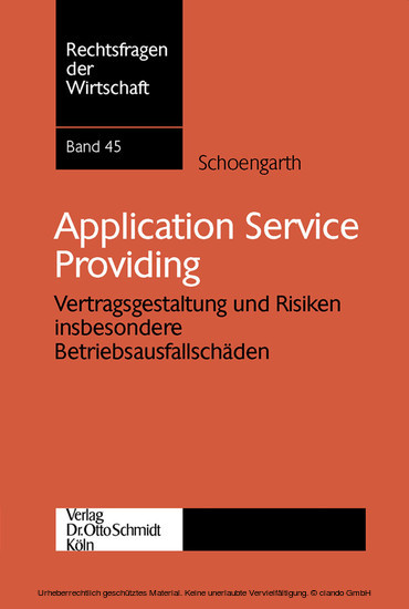 Application Service Providing - Blick ins Buch