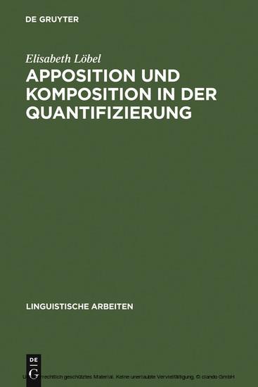 Apposition und Komposition in der Quantifizierung - Blick ins Buch