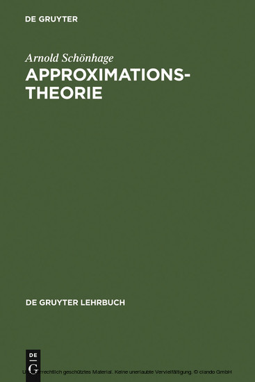 Approximationstheorie - Blick ins Buch