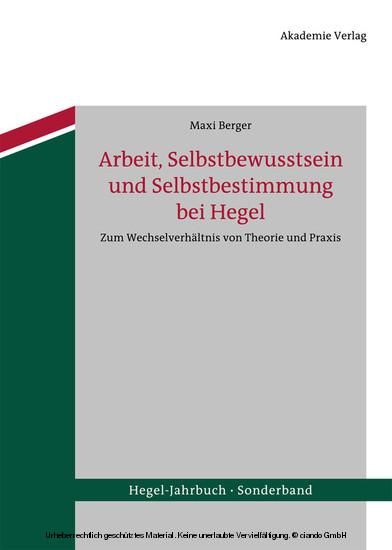 Arbeit, Selbstbewusstsein und Selbstbestimmung bei Hegel - Blick ins Buch