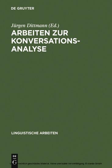 Arbeiten zur Konversationsanalyse - Blick ins Buch