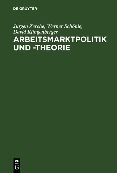 Arbeitsmarktpolitik und -theorie - Blick ins Buch