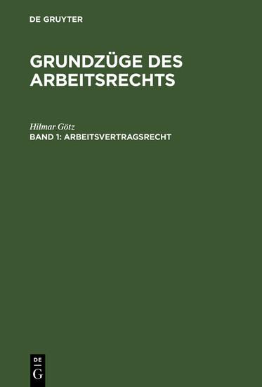 Arbeitsvertragsrecht - Blick ins Buch