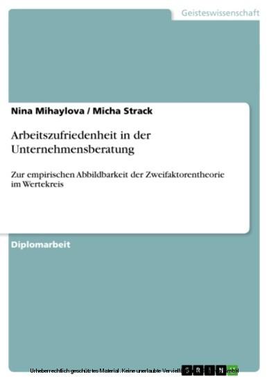 Arbeitszufriedenheit in der Unternehmensberatung - Blick ins Buch