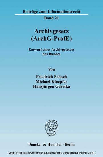 Archivgesetz (ArchG-ProfE). - Blick ins Buch