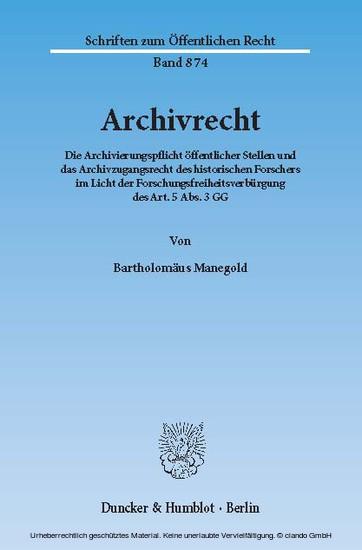 Archivrecht. - Blick ins Buch
