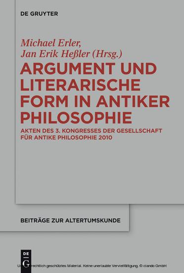 Argument und literarische Form in antiker Philosophie - Blick ins Buch